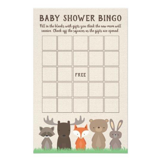 Woodland Baby Shower Bingo Game Cards