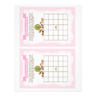 Woodland Baby Shower Bingo Game pink, 2 a page