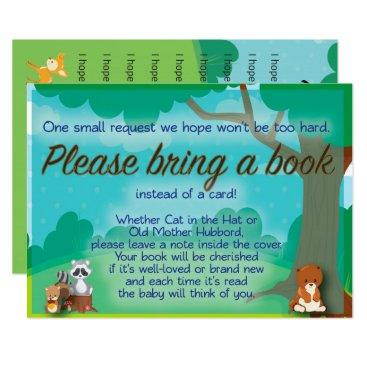 Beach Themed Woodland Baby Shower Book Request & Wishes Insert Card