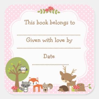 Woodland Baby Shower Bookplate sticker pink