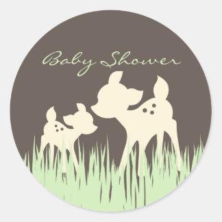 Woodland Baby Shower Classic Round Sticker