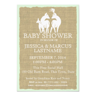 Woodland Baby Shower Deer and Burlap 5x7 Paper Invitation Card