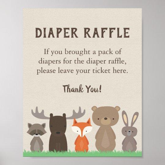 Woodland Baby Shower Diaper Raffle Sign | Zazzle.com