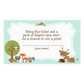 Woodland Baby Shower Diaper Raffle ticket blue Business Card