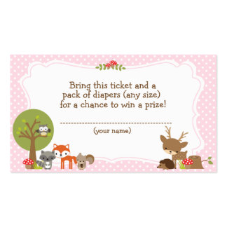 Woodland Baby Shower Diaper Raffle ticket pink Business Card