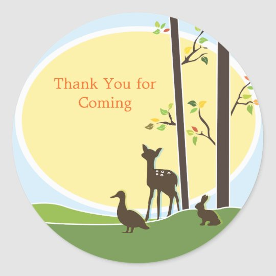 Woodland Baby Shower Favor Sticker