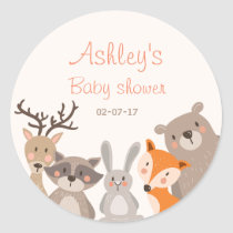 Woodland baby shower favor tag Sticker Animals Fox