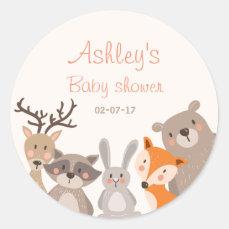 Woodland baby shower favor tag Sticker Animals Fox