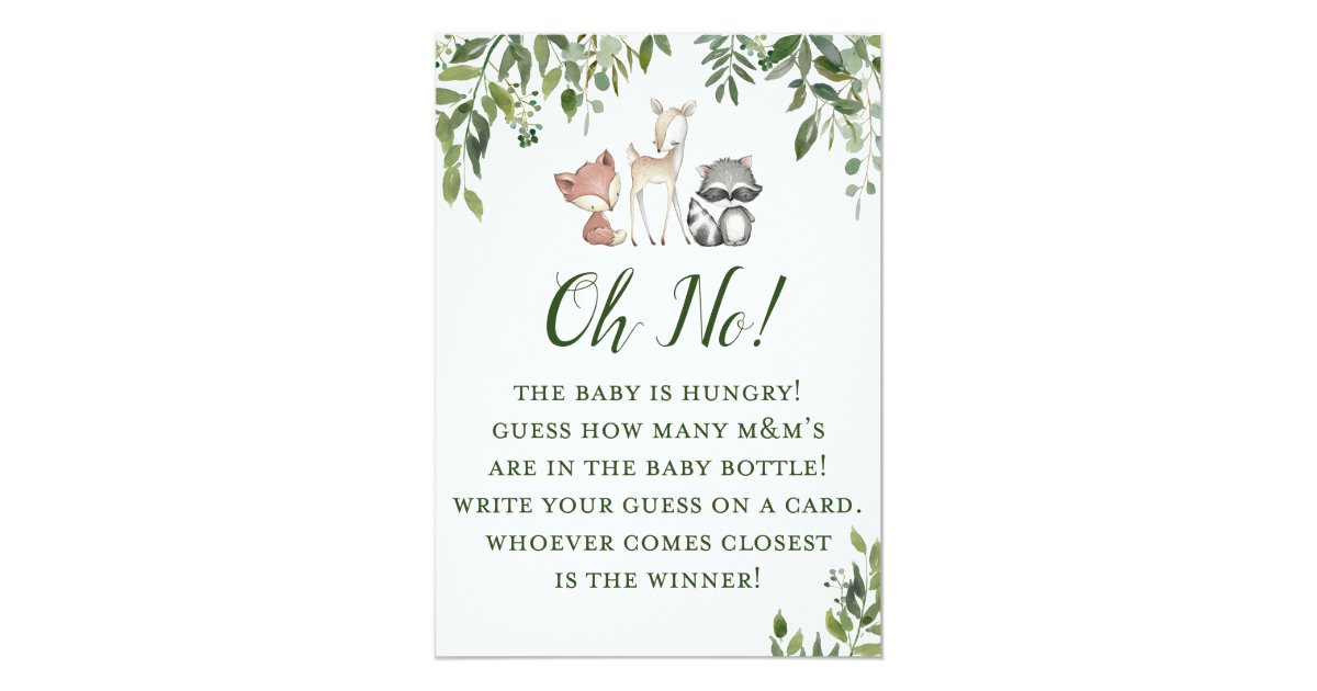 Woodland Baby Shower Game - Guessing How Many Invitation ...