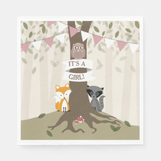 Woodland Baby Shower - Girl Napkin