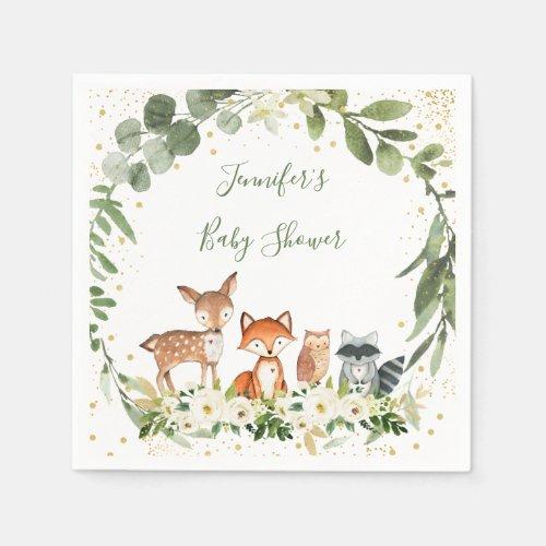 Woodland Baby Shower Greenery Forest Animal Napkins