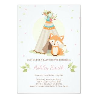 Woodland baby shower invitate Fox Teepee Girl Pink Card