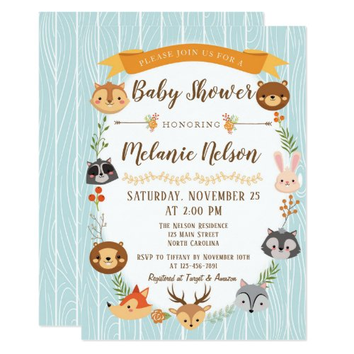 Woodland Baby Shower Invitation Deer Fox Animal