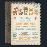 """Woodland Baby Shower Invitation Forest Animals<br><div class=""""desc"""">Woodland baby shower invitation featuring adorable forest animals - bear,  deer,  fox,  chipmunk and a rabbit  Perfect for a gender neutral or boy baby shower / sprinkle</div>"""