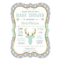Woodland Baby Shower Invitation, Mint, Gray, Gold Invitation