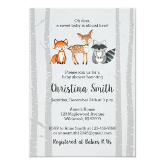 Woodland Baby Shower Invitation-Watercolor Animals Card