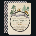"""Woodland Baby Shower Invite<br><div class=""""desc"""">Woodland scene with forrest creatures including deer,  bear,  rabbit,  squirrel,  and owl. Adorned with pine trees and gold foil arrows in a boho design.  Back page is a watercolor chevron pattern.</div>"""