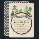 "Woodland Baby Shower Invite<br><div class=""desc"">Woodland scene with forrest creatures including deer,  bear,  rabbit,  squirrel,  and owl. Adorned with pine trees and gold foil arrows in a boho design.  Back page is a watercolor chevron pattern.</div>"
