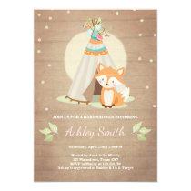 Woodland baby shower invite Fox Teepee Pink Girl