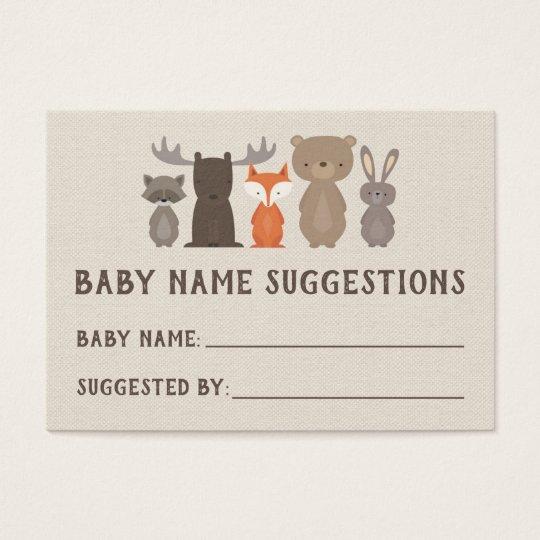 woodland baby shower name suggestion cards zazzle com