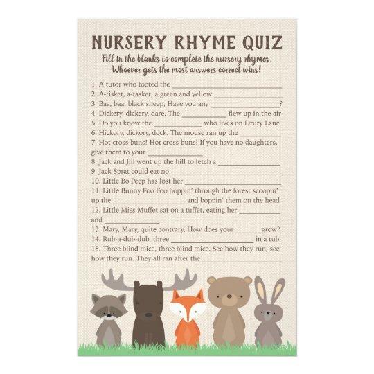 Woodland Baby Shower Nursery Rhyme Quiz Game Cards Zazzlecom