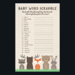 """Woodland Baby Shower Word Scramble Game Cards<br><div class=""""desc"""">Our woodland themed baby shower word scramble game cards has 20 words scrambled and all the words are associated with babies. You can have the guests casually play this game (just quickly edit the directions yourself) or you can make it a competition by giving the guests a certain amount of...</div>"""