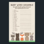 "Woodland Baby Shower Word Scramble Game Cards<br><div class=""desc"">Our woodland themed baby shower word scramble game cards has 20 words scrambled and all the words are associated with babies. You can have the guests casually play this game (just quickly edit the directions yourself) or you can make it a competition by giving the guests a certain amount of...</div>"