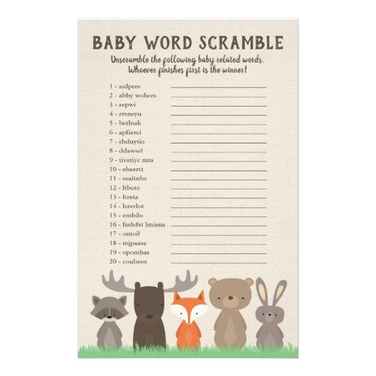 Woodland Baby Shower Word Scramble Game Cards
