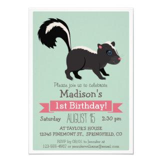 Woodland Baby Skunk Birthday Party Invitation