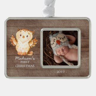 Woodland Baby's 1st Christmas Photo Ornament