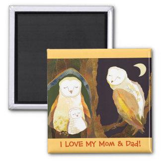 Woodland Barn Owl Family Magnet