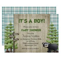 Woodland Bear Baby Shower Invitation Boy