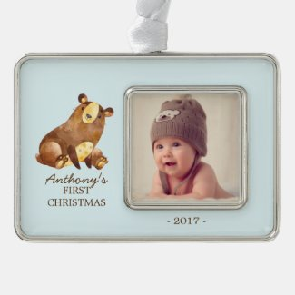 Woodland Bear Baby's 1st Christmas Photo Ornament