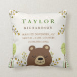 "Woodland Bear Birth Announcement Pillow<br><div class=""desc"">A beautiful woodland forest themed birth announcement pillow featuring the option of personalized baby stats. A wide array of other baby pillows and products are available at my store.</div>"