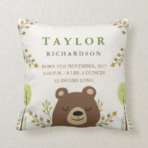 Woodland Bear Birth Announcement Pillow