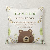 Woodland Bear Birth Announcement Pillow