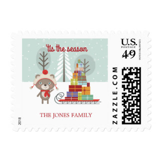 Woodland Bear Christmas Postage