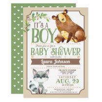 Woodland Bear & Raccoon Boy Baby Shower Card