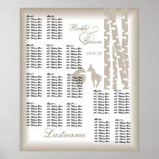 Woodland Birch Wedding Seating Chart Poster