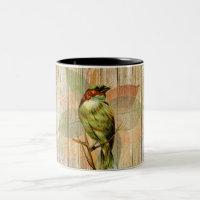 Woodland Bird Against Rustic Wood Fence Two-Tone Coffee Mug