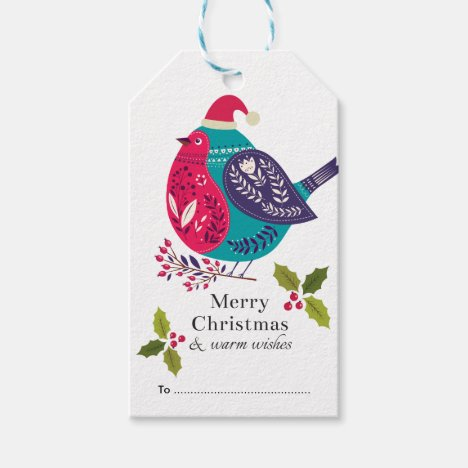 Woodland Bird Christmas Design Gift Tags