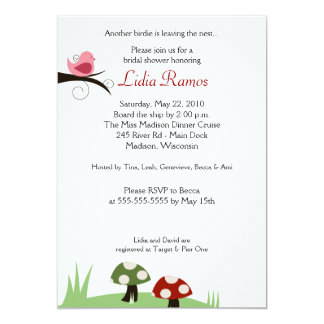 Woodland Birdie 5x7 Bridal Shower Invitation