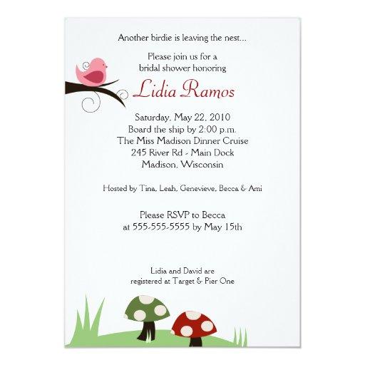 Woodland Birdie 5x7 Bridal Shower Invitation