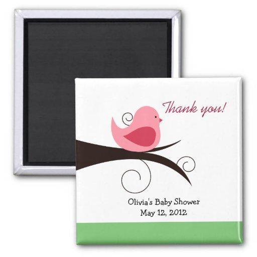 Woodland Birdie (Pink) Baby Shower Favor Magnet
