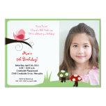 Woodland Birdie Pink *PHOTO* Birthday 5x7 Card