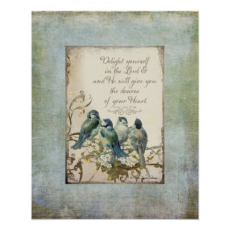 Woodland Birds - Bluebirds on a Branch Floral Poster