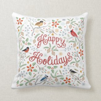 Woodland Birds Happy Holidays Christmas Pillow