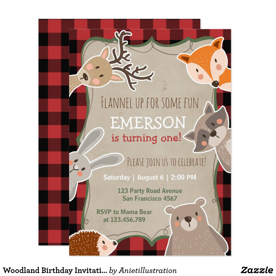Woodland Birthday Invitation Lumberjack Fox Bear
