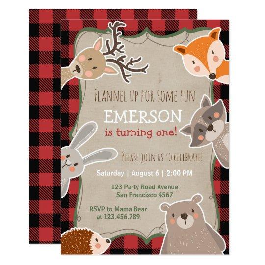 woodland birthday invitation lumberjack fox bear zazzle com