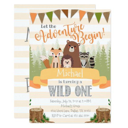 woodland birthday party invitation invite natural zazzle com